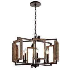home decorators zurich collection 6 light aged bronze chandelier w wood accents