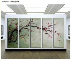 five panel oil painting the plum blossom huge handmade modern flower canvas green cheap framed wall on plum flower canvas wall art with wall art best gallery very large wall art large paintings for large