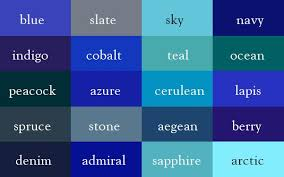 Shades Of Color Blue Chart The Color Thesaurus Color Shades Colours Color Names