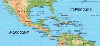 map of central america caribbean states  map in the atlas of the