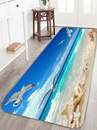 sea gull conch starfish beach bath rug light blue w24 inch l71 inch