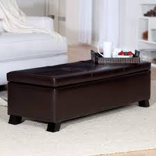 Nailhead Coffee Table 36 Top Brown Leather Ottoman Coffee Tables