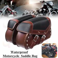 details about universal pu leather motorcycle saddle bags bike side luggage storage tool fb