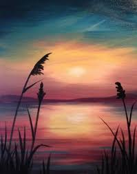 pretty sunset beginner painting idea with sea oats