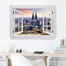 3d Wandtattoo Offenes Fenster Köln Skyline Mit Dom