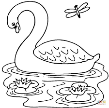 Small Picture Swan in the Lake coloring page Free Printable Coloring Pages