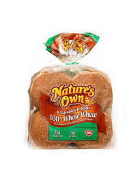 natures own whole wheat sandwich rolls