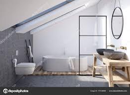 Wände Im Dachgeschoss Badezimmer Grau Stockfoto Denisismagilov