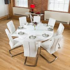High Gloss Dining Table Large Round White Gloss Dining Table Lazy Susan 8 White Chairs