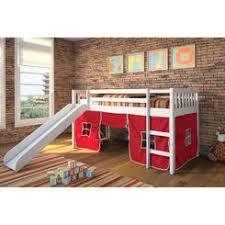 bunk bed with slide and tent. Acme United Kids Wasila White Twin Loft Bed With Slide And Red Tent Bunk O