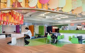 creative office design ideas. Breathtaking Office Design With Creative Ceiling Ornament And Unique Shape Wooden Desk Also Green Floor Decor Idea Ideas