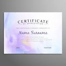 Certificate Of Appreciation Templates Free Download Purple Certificate Of Appreciation Template Vector Free Download
