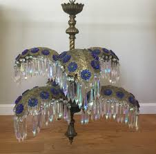 vintage palm frond crystal filigree chandelier 6 light grand waterfall swag lamp blue
