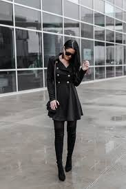 tips on how to wear a black trench coat as a dress trench coat outfits