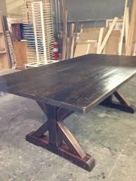Dark Walnut Pine X Base Table Pepper Cos Custom Dining Tables