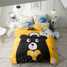 2018 bear yellow bedding sets cotton linens duvet cover set 3 twin queen flat sheet fitted sheet bed cover pillowcases designer duvet cover bedding and