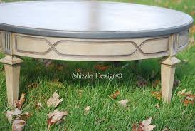 28 dec antique round coffee table with old world patina