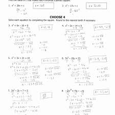 worksheet answer 8 solve each equation by pleting the square answers tessshlo