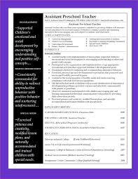 Resume Examples For Preschool Teacher Assistant Resume Ixiplay