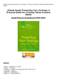 Ebook Epub Presenting Your Findings A Practical Guide For Creating Tables Freedom Ebook