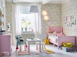 pink and white bedroom furniture. A Pink, White And Yellow Children\u0027s Bedroom With Extendable BUSUNGE Bed In Light Pink To Furniture E