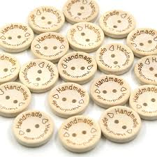 <b>50Pcs</b> Round <b>Wooden</b> Buttons Natural Color Handmade Button <b>2</b> ...