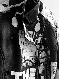 6 rannka hand painted uni vegan black and white jacket