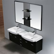 contemporary 58 inch wide double wall mounted bathroom vanity cabinet set