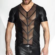 new style men faux leather sheer mesh tops t shirt y revealing pect muscles tee tops