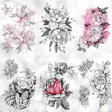 эскиз цветок цветения пион роуз водонепроницаемый временные татуировки наклейки черные татуировки боди арт рука рука девушки женщины поддельные тату