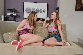 Naughty teen friends Lexi Belle and Jessie Andrews sharing a big.