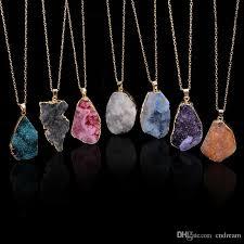 whole unground irregular natural stone pendant necklace crystal quartz drusy pendants for women diy jewelry statement jewelry 160784 silver jewellery