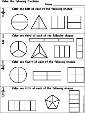 Fractions - EnchantedLearning.comColor Fractions Color Fractions Worksheet