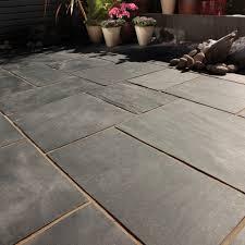 patio stones. Bradstone, Natural Slate Paving Blue-Black Patio Pack - 10.20 M2 Per Stones