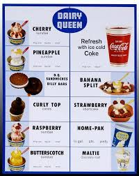 Dairy Queen Menu Calories Chart Dairy Queen Menu From The 1960s Dairy Queen Diner Menu