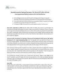 new car launch press releaseHyundai i20 Auto  Press Release