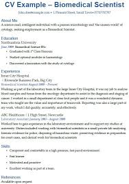 Biomedical Scientist Cv Example Icover Org Uk