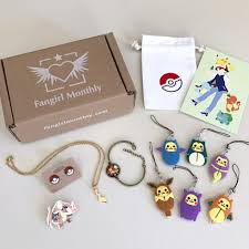 fan monthly is an anime themed jewelry subscription box each month you get three to five pieces around a monthly theme plus a collectible postcard and