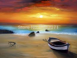 realist abstract landscape sunset oil painting on canvas impression sea and boat oil painting on canvas