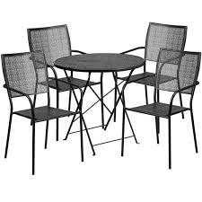 30 round black indoor outdoor steel folding patio table set with 4 square