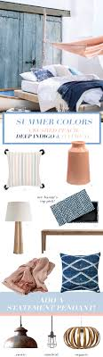 Peach Colored Bedroom Summer Decor Colors Crushed Peach Deep Indigo Oatmeal Bright