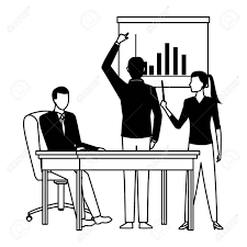 Business People Businessman Back View Pointing A Data Chart