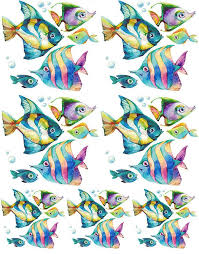 watercolor tropical fish ceramic decals enamel decal fusible decal glass fusing decal waterslide decal 43443