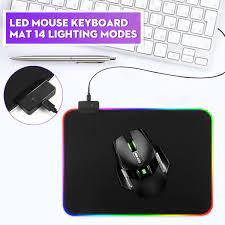Oyun RGB LED Mouse Pad yumuşak kauçuk USB kablolu aydınlatma renkli  Mousepad aydınlık oyun klavyesi fare Mat PC bilgisayar dizüstü bilgisayar Mouse  Pads