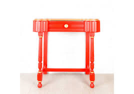 hand painted small red and gold console hall table