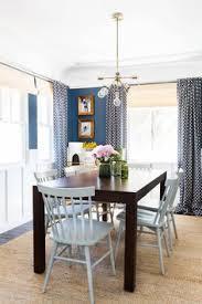 navy gold mid century dining room