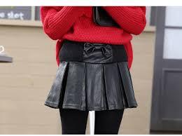 girls skirt black 2016 new autumn england style girls skirt chilldren pu leather skirts for kids