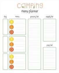 Camping Menu Planner Template In Printable Menu Planner