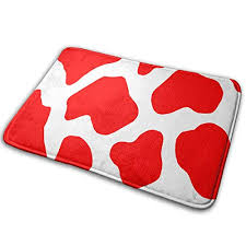 yisliferunaz door mats red cow print leopard pattern entrance rug non slip soft outdoor indoor entry carpet for patio kitchen inside floor porch garage home