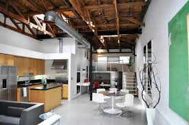 kitchen loft design ideas. panoramic view of small apartment with natural wood kitchen dark counter tops. entire loft design ideas